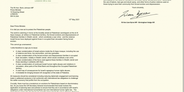 IMage of letter written by LIam to Prime Minister